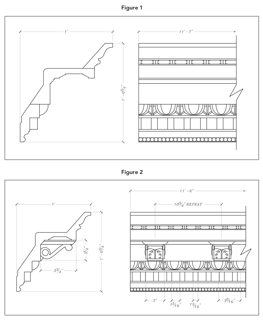Figure 1 shows drawings for building up a fabricated molding out of three pieces. The identical profile is shown in one molded piece in Figure 2, an indication of the savings possible—in installation time and cost, and in avoiding problems that often start at seams and joined pieces.