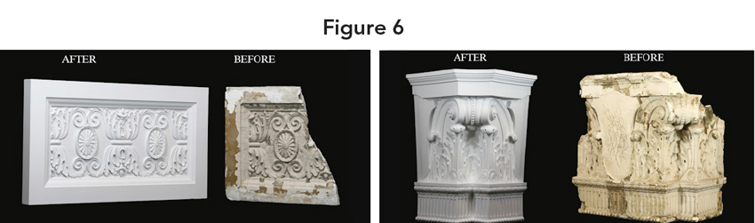 Two images, each containing a before and after picture of repaired moldings.