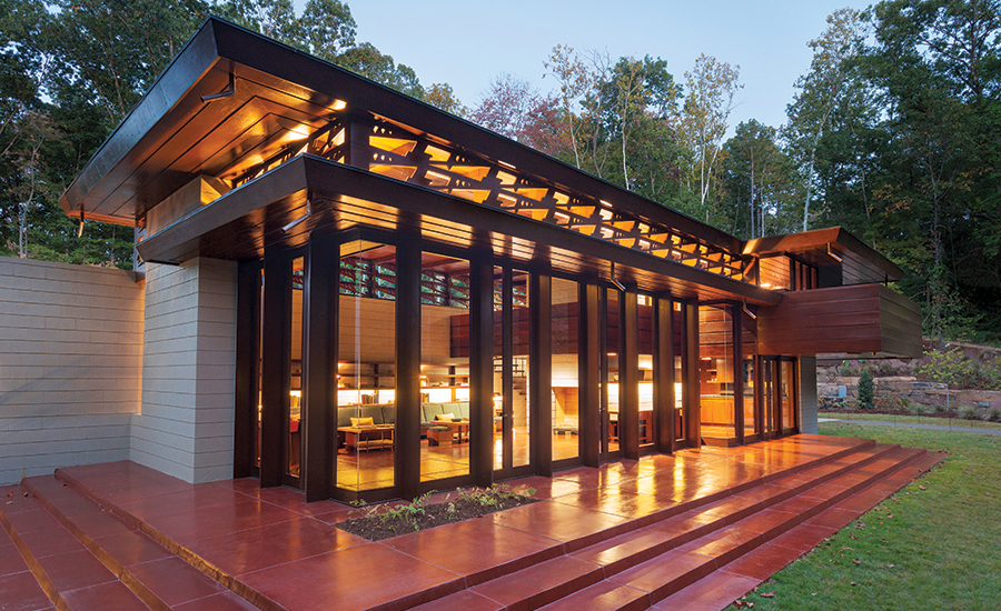 Frank Lloyd Wright's Bachman Wilson House was recently moved from its original site in Millstone, New Jersey, to the grounds of Crystal Bridges in Bentonville, Arkansas.