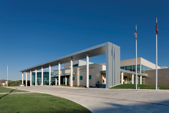 Lady Bird Johnson Middle School in Irving, Texas, is the first net-zero school in the state, and at 150,250 square feet, the campus is the largest net-zero educational facility in the country. A net-zero building produces as much energy as it consumes, so its overall energy consumption is net zero over the course of a year.