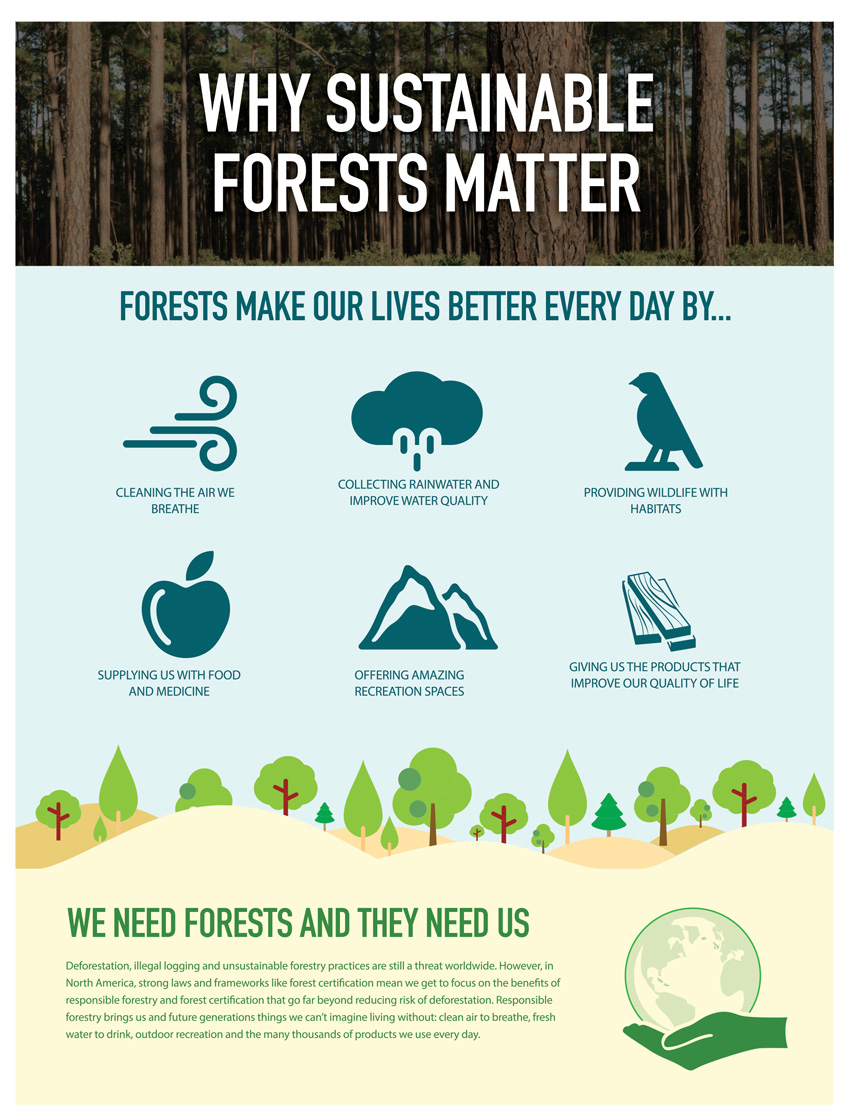 Poster with listings for why sustainable forests matter.