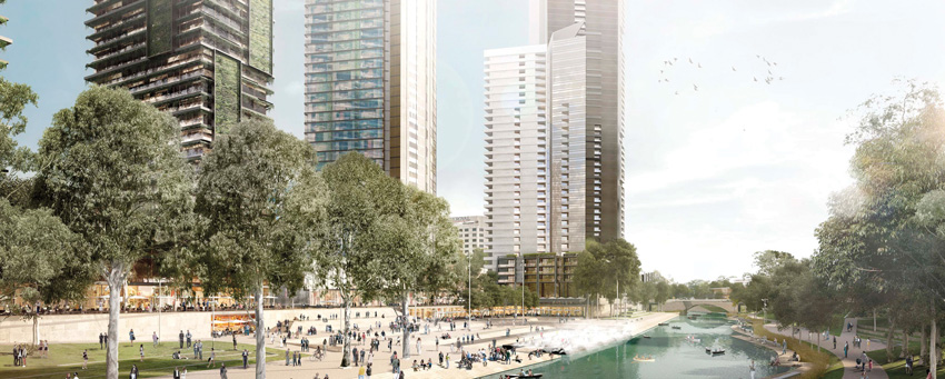 Rendering of a river front with tall buildings.