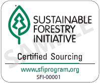 Sustainable Forestry Initiative chain of custody label.