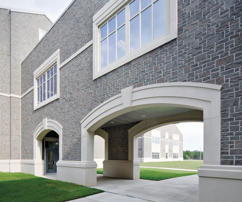 Masonry veneer was chosen for its look of natural stone without the high cost.