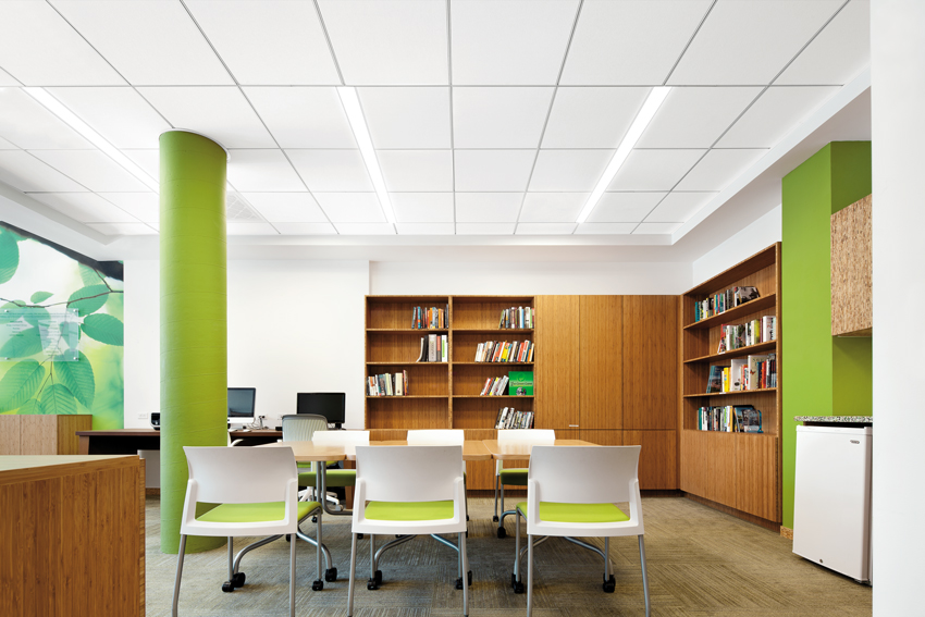 On-center linear lighting: acoustical suspension systems provide lighting layout symmetry options using standard components to compliment your building design.