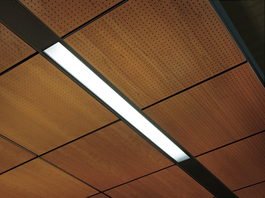 Technical zone lighting: effectively integrate all technical services for an organized, simplified, monolithic ceiling visual, including lighting, diffusers, and sprinklers in metal, wood, and acoustical ceilings.