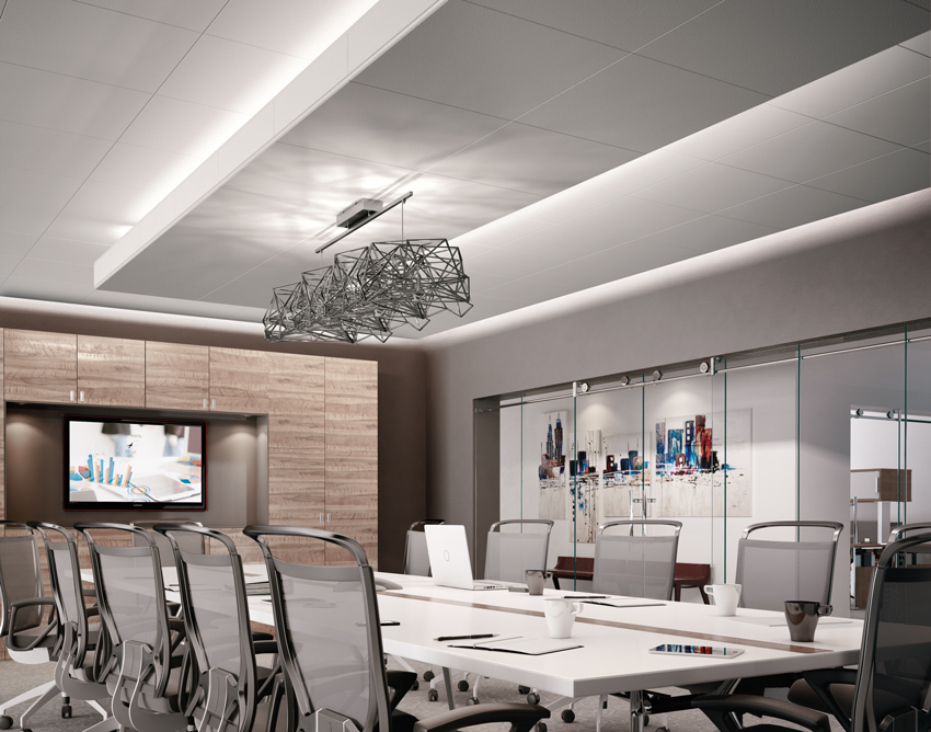 Direct and indirect cove lighting: pre-engineered extruded aluminum light coves with integrated light fixtures provide predictable lighting performance.