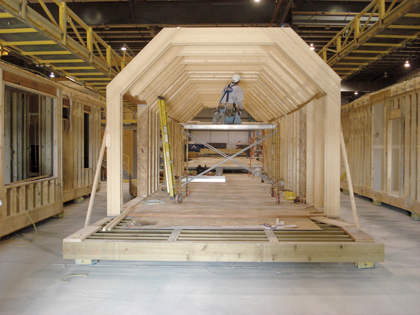 Gable Home - Solar Decathlon entry by the University of Illinois at Urbana-Champaign utilizing engineered laminated bamboo for the structural elements.