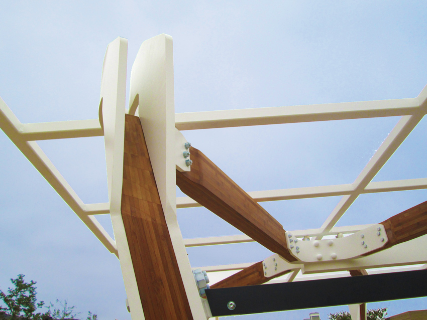 Structural bamboo products (SBPs) custom fabricated and used in conjunction with powder coated steel and dipped hardware