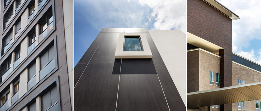Sintered compact surfaces used on facades are available in a variety of colors, patterns, textures, and appearances.