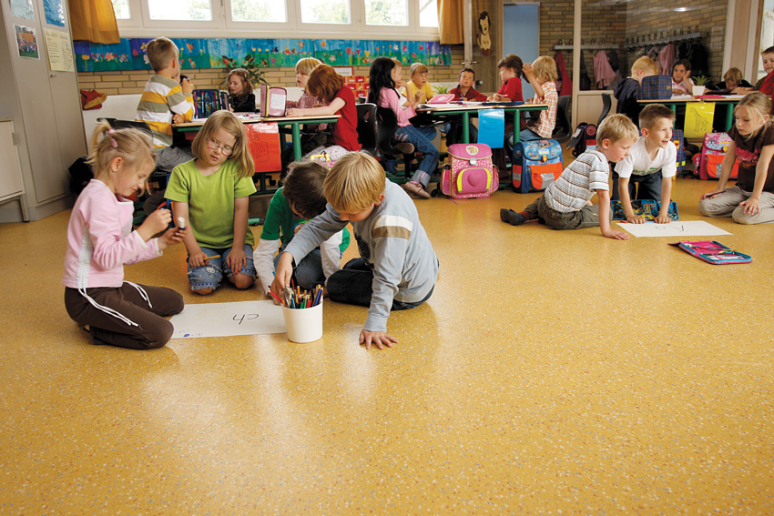Exceptional learning environments emphasize movement and collaboration. In early grades especially, students need a comfortable, safe, healthy, and easy-to-clean floor.