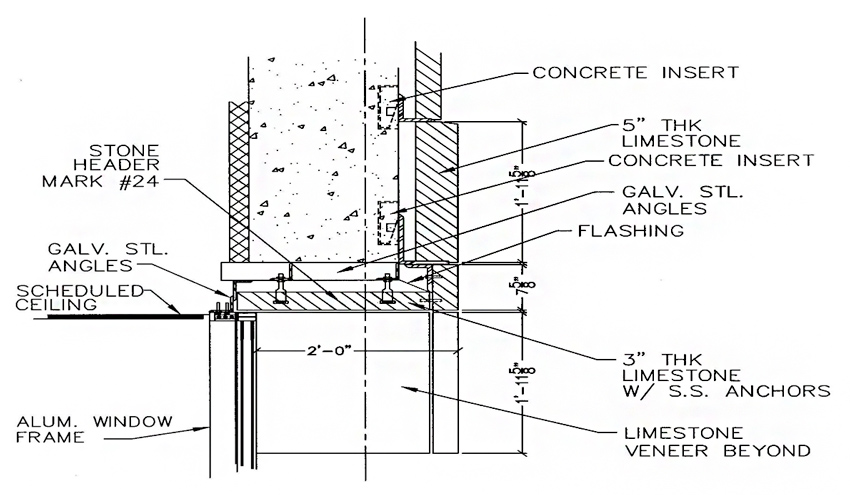 Stone cutting and setting shop drawings need to be coordinated with architectural construction drawings to allow all aspects of the stonework to be appropriately detailed.
