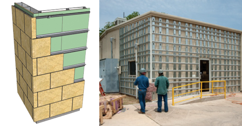 An alternative to traditional anchoring systems is to use a metal frame system that is designed to accept standard-size panels of cut stone, thus expediting installation and helping to control costs.