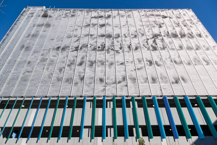 Photo of the kinetic facade of the Logan Airport Parking Expansion.