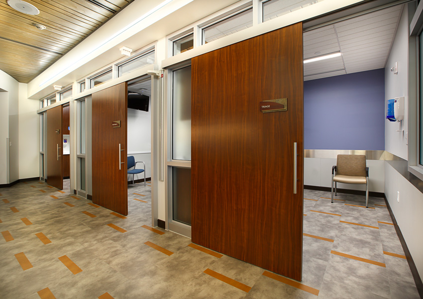 Photo of a hospital interior with sliding doors.