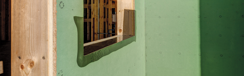 Photo of a window frame during construction.
