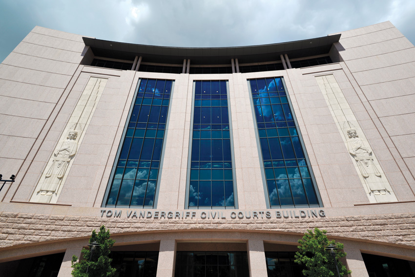 Facade of the Tarrant County Civil Courthouse, Fort Worth, Texas.