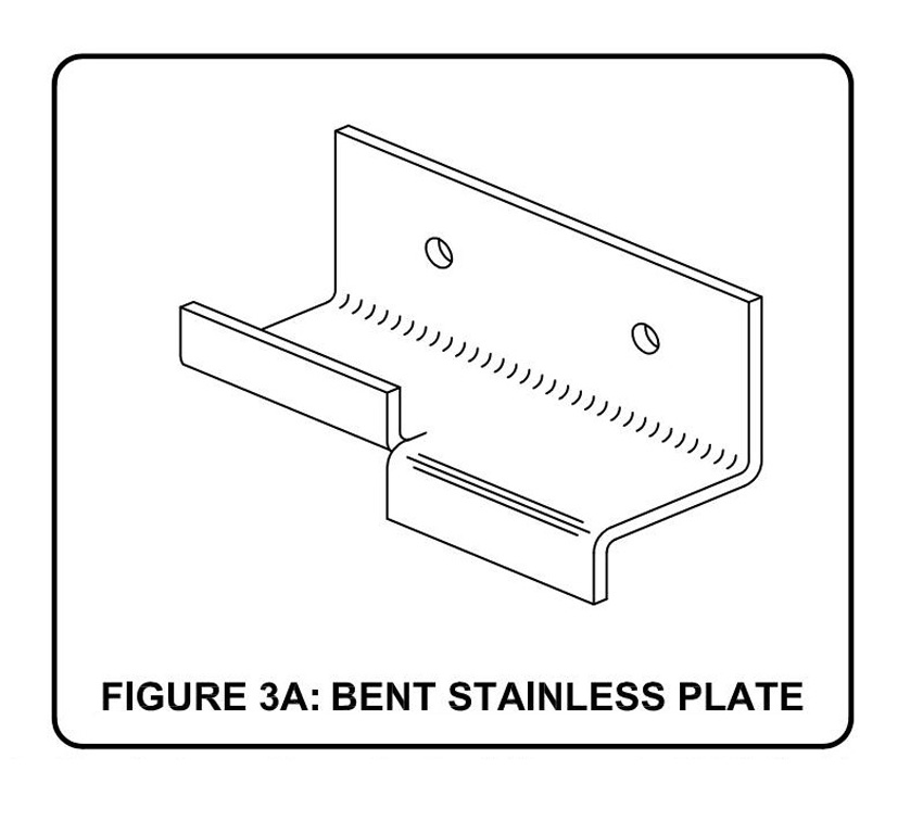 Diagram of a bent stainless steel plate.