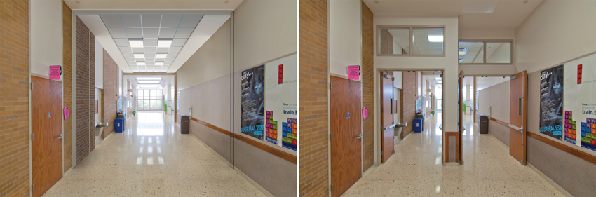 Left: Clear hallway. Right: Photo of a hallway without a wall and swinging doors.