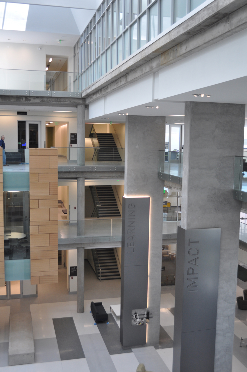 Photo of an interior space at Baylor University's Hankamer School of Business showing stairs.