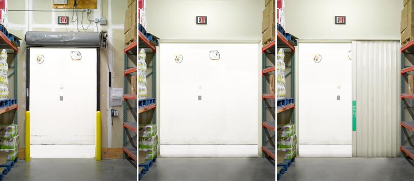Photos of horizontal sliding doors in a stockroom.