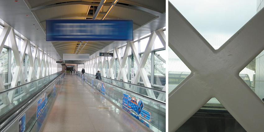 A series of intersecting hollow steel sections are visible along the pedestrian bridge (left) at Boston Logan International Airport. A close-up view (right) slightly shows the weld seams, which have been ground out consistently at each architecturally exposed member and coated with intumescent paint.
