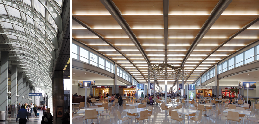 Daylight penetrates through the interior of both the United Airlines Terminal at O'Hare International Airport in Chicago (left) and the Sacramento International Airport, Central Terminal and Concourse B Expansion (right).