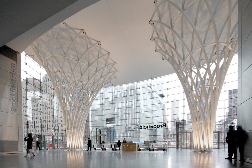Photo of the steel trees in the Brookfield Place Entry Pavilion in New York City.