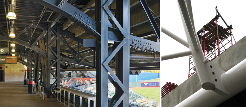 The Southwest University Park stadium represents a more tectonic style (left), emphasizing bolts and connections. The intersection of multiple AESS members in the close-up image of the Loyola's Institute of Environmental Sustainability Ecodome (right) are much more plastic, seamless, and smooth.
