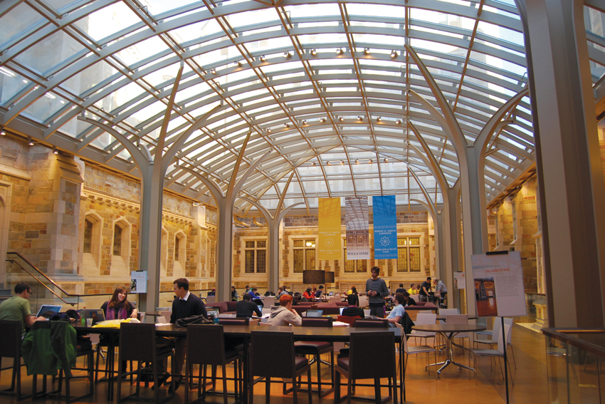 Interior photo of the Robert B. Aikens Commons at the University of Michigan.