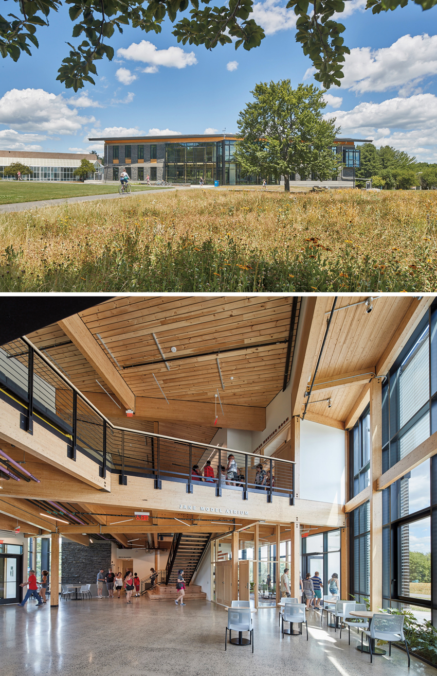 Interior and exterior photos of the Kern Center.