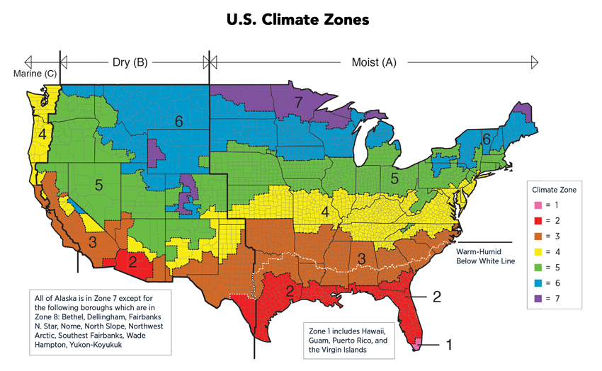 US map depicting climate zones.