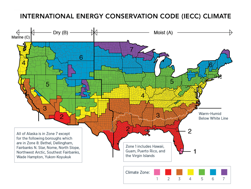 Map of the USA showing climate zones according to the International Energy Conservation Code.