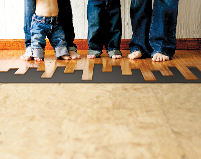 Photo of bare feet on wood floors.