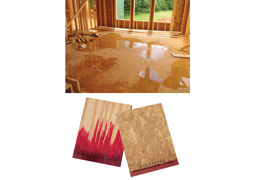 Subflooring can get wet during construction and cause problems along the edge. In the comparison (bottom) of high-performance engineered panels on the right and plywood on the left, each board was soaked in one inch of water, colored with red food dye, for 3 hours. Results show progress through the 3-hour test.