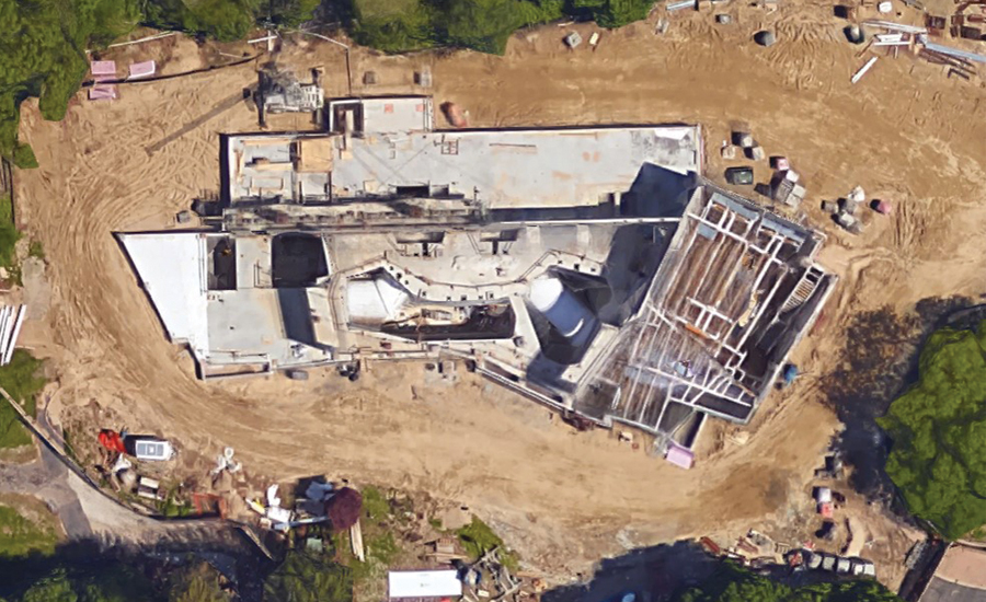 Aerial photo of the Polk Penguin Conservation Center during construction.