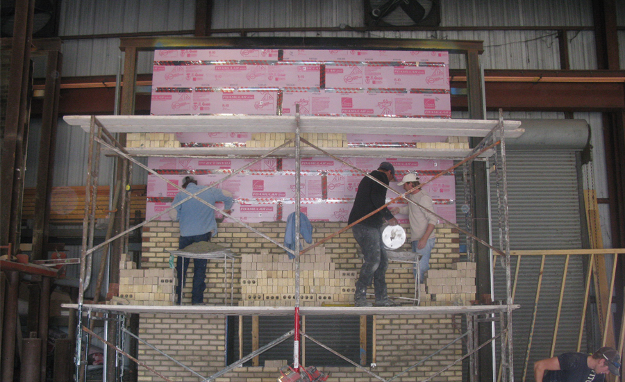 Figure 7:  NFPA 285 Test Wall Under Construction.