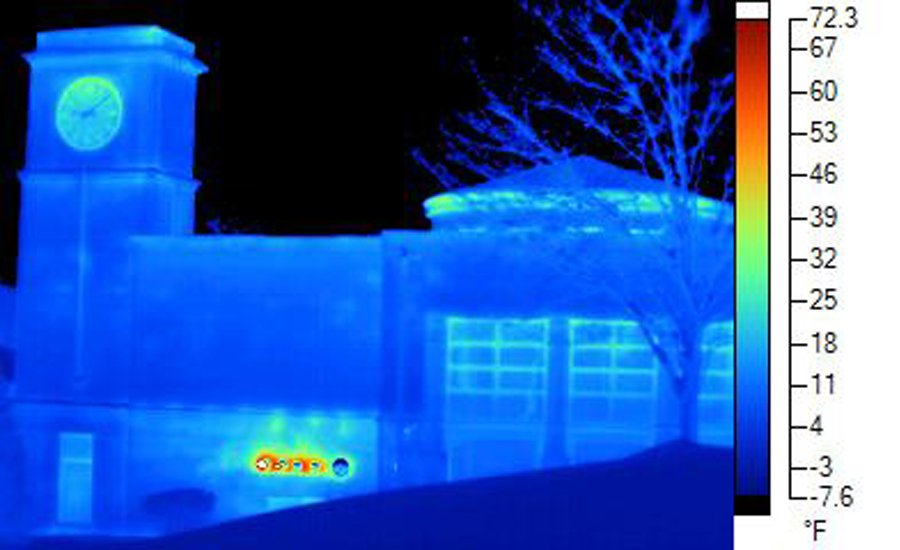 Figure 4: Thermal Imaging of a Building with Cavity Insulation, And CI.