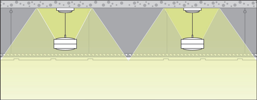 Illustration of a ceiling space with loudspeakers.