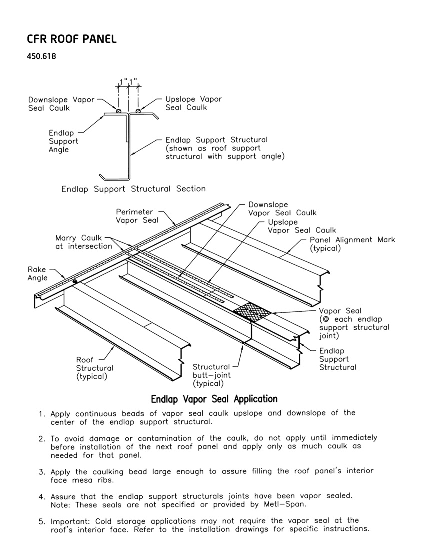 Graphic showing an endlap vapor seal application.