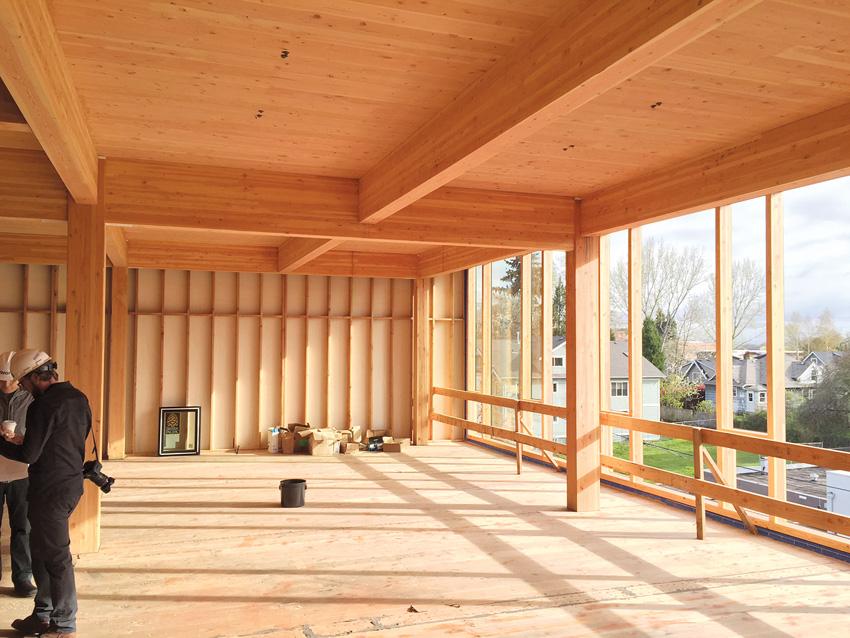 Photo of interior wood framing under construction.