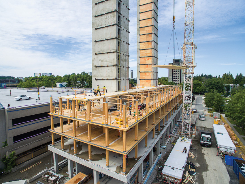 Photo of the university building under construction.