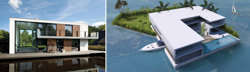 The Waterstudio's Villa De Hoef (left). Waterstudio-designed private floating islands (right).