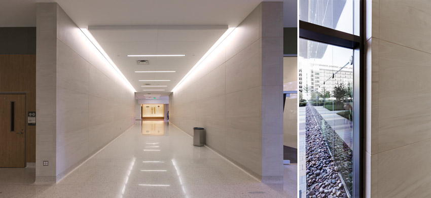 Two interior photos of the Parkland Hospital Dallas.
