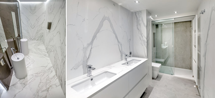 Two photos of interiors with stone panels that emulate marble.