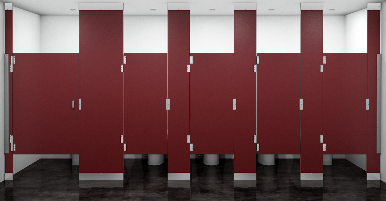 Photo of bathroom stall doors.