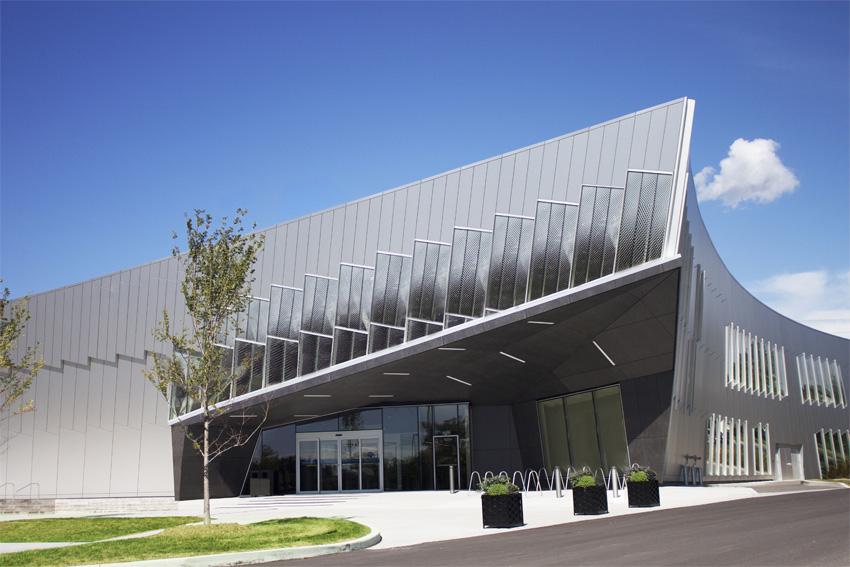 Building exterior with rainscreen system.