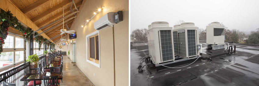 Left: Photo of the Market at Liberty Place. Right: Outdoor HVAC unit.