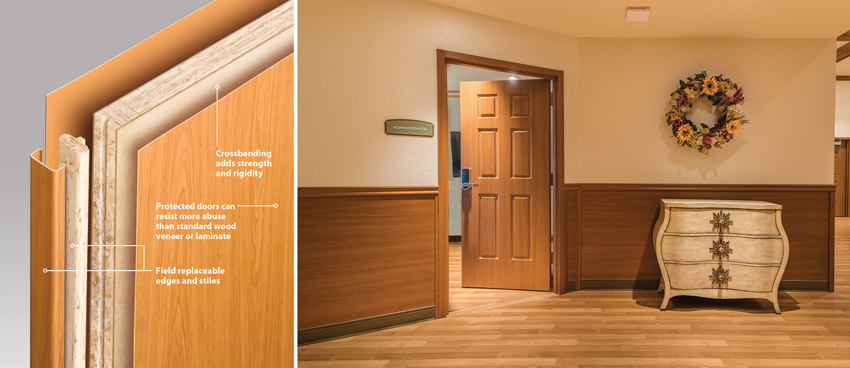 Cutaway graphic and photo of solid-core wood doors.