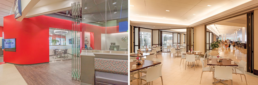 Two interior photos of operable glass walls.
